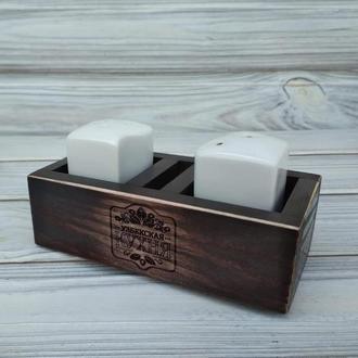 Деревянная спецовница, органайзер для специй с Вашей гравировкой