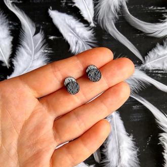 Минималистичные двухслойные серьги 8 и 8 мм. Интересные пористые серьги гвоздики (много цветов)