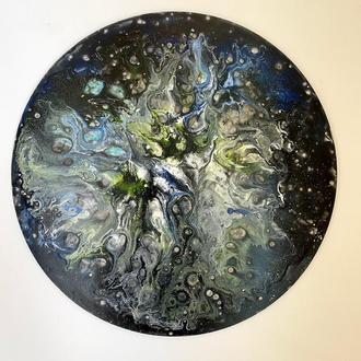 "Абстрактная картина ""Галактика"" в стиле Fluid Art"