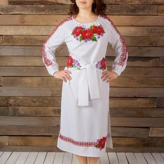 Платье с вышивкой бисером, вышиванка, платье