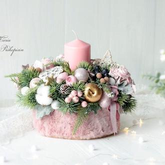 Большой новогодний подсвечник в нежно-золотисто - розовом цвете.