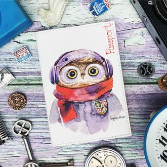 Обложка на паспорт, сова, совёнок, паспортная обложка, обложка для паспорта