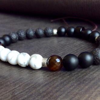 Мужской браслет из натуральных камней.