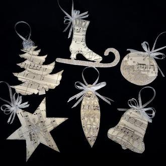 Набор из 6 новогодних елочных игрушек в винтажном стиле/ Рождественские украшения