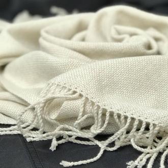 Женский белый тканый кашемировый шарф