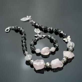 Стильный розовый кварц. Лабрадор, серебро