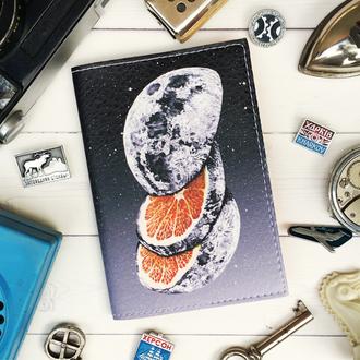 Обложка на паспорт, луна, апельсин, паспортная обложка, обложка для паспорта