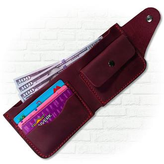 Кожаный кошелёк марсалового цвета
