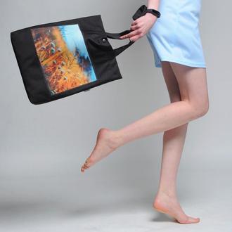 Черная эко-сумка с фото принтом Крым 2, шоппер с карманом, эко-торба, сумка для покупок, арт авоська