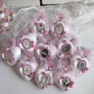 новогодние игрушки на елку -сердце 10 шт