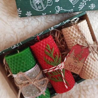 Новогодний набор свечей из вощины новогодний декор новогодний подарок