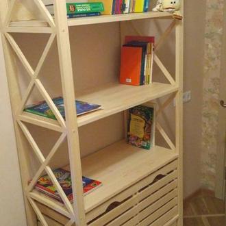 Деревянный стеллаж в детскую комнату под книги с тремя ящиками