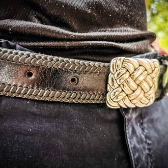 Кожаный ремень с тесьмой по периметру, кожаный ремень с пряжкой кельтика