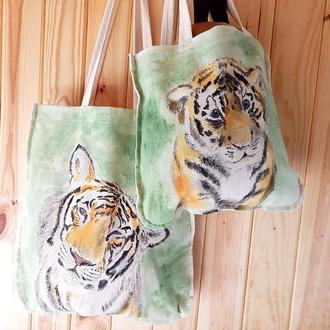 """Набір: доросла та дитяча сумки Тигри. Екоторби в стилі """"Family look"""""""