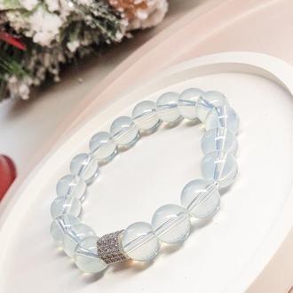 Браслет из натуральных камней, браслет из лунного камня, новогодний подарок
