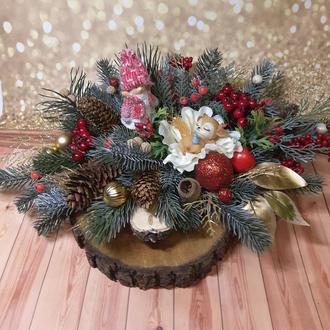 Новогодний рождественский венок композиция подсвечник декор Новорічний вінок підсвічник
