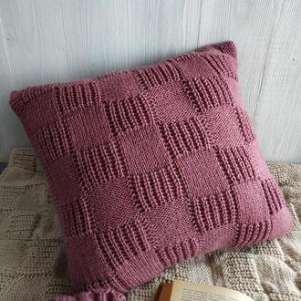 Диванная подушка (наволочка) вязаная пыльная роза на пуговицах - 40*40 см