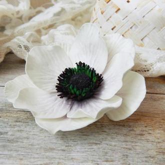 Квітка брошка заколка анемона брошь цветок белый