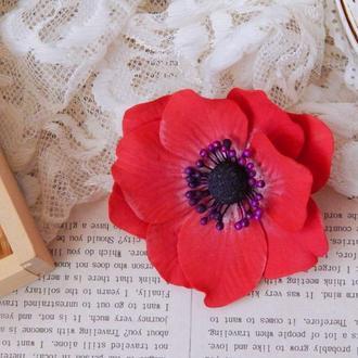 Квітка брошка брошь цветок анемона червона