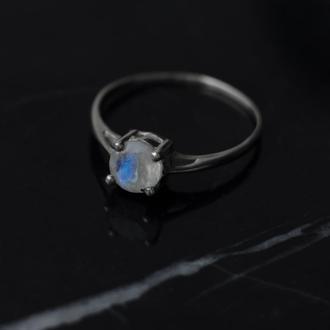Серебряное кольцо с граненым лунным камнем адуляром 925 минимализм