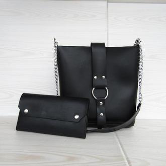 Очень красивая черная сумка с кольцом + кошелек handmade