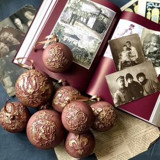 Набор новогодние елочные шары в винтажном стиле