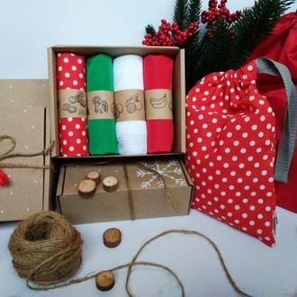 Новогодний набор эко мешочков Киев, многоразовые мешочки Киев, корпоративные подарки киев