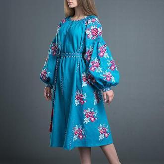 """Вишита льняна сукня """"Квіткова Мрія"""" 00105"""