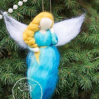 Фея прикраса на ялинку з вовни. Сувенір ялинкова іграшка Ангел валяне лялька