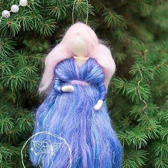 Декоративная интерьерная валяная кукла, вальдорфская фея из шерсти, художественная кукла