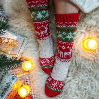 Вовняні різдвяні шкарпетки