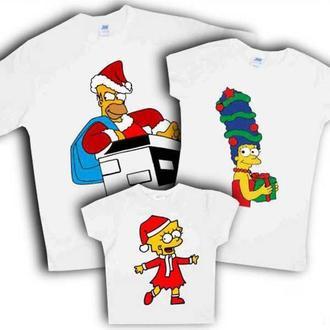 """ФП006292Футболки Фэмили Лук Family Look для всей семьи """"Симпсоны: Новый Год"""" Push IT"""