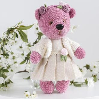 Девочка медвежонок розовая в платье