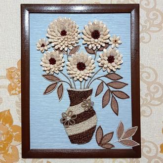 Объемная картина ваза с цветами. Размер 34*44 см.