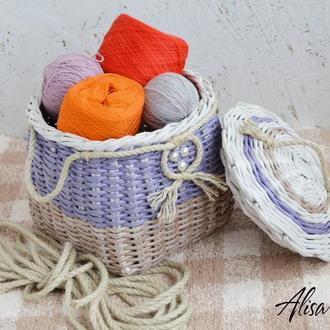 Корзина с крышкой плетеная для хранения 21х21х20см.