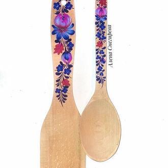 """Кухонный набор """"Черника"""" . Деревянная ложка и лопатка."""