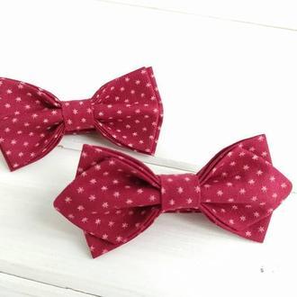 Детская галстук бабочка красная в звезды