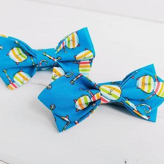 Бірюзова краватка -метелик дитяча коти
