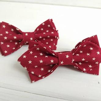 Детская галстук бабочка красная в звездочки