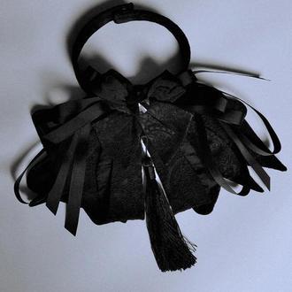 Пластрон с кистью и кристаллом Swarovski. Галстук-бабочка. Чокер на шею