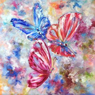 """Картина маслом """"Солнечные бабочки"""" 60х60 см авторская живопись"""