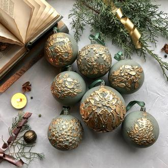 Шикарный набор новогодние елочные шары в винтажном стиле, ручная работа