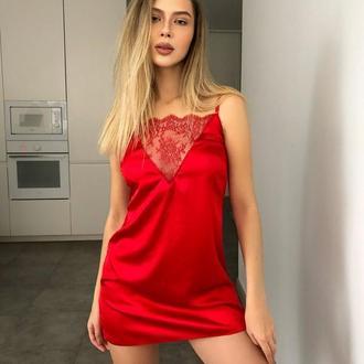 Комбинация из шелка с французским кружевом, красная шелковая ночнушка