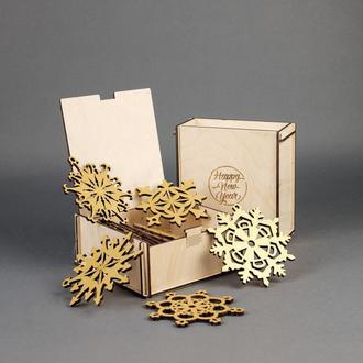 Подарочный набор деревянных елочных игрушек Снежинки (10 шт.) — Золотой