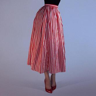 Юбка миди в полоску. Стильные юбки из 100% хлопка. Летняя юбка с карманами