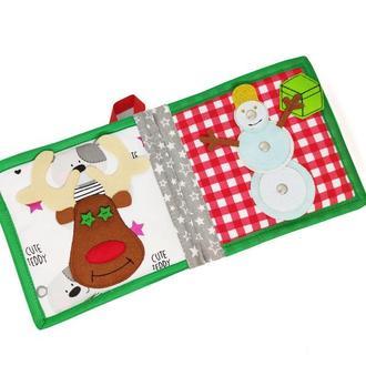 Новорічна розвиваюча книжка з фетру для самих маленьких, 10 сторінок / Merry Cristmas