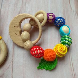 Деревянный грызунок прорезыватель, в радужных цветах, игрушка ручная работа