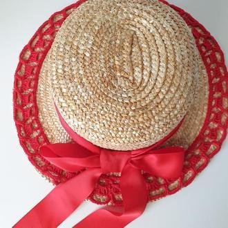 Шляпка канотье с декором