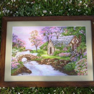 """Вышитая картина """"Весенний пейзаж"""""""