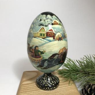 """Яйцо расписное деревянное на подставке """"Зимний Пейзаж"""""""